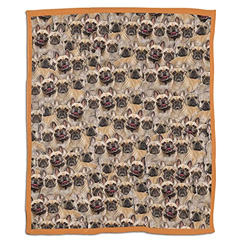 French Bulldog Face 3D Printed Soft Blanket for Kids and Adults Fleece Reversible Anti Pilling Flannel Blanket 50 X 40 Inch