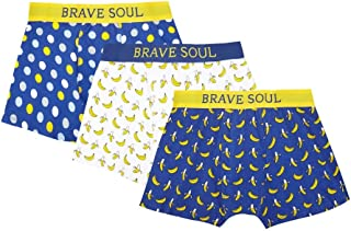 Brave Soul Mens Banana Print Jersey Boxers (Pack Of 3)
