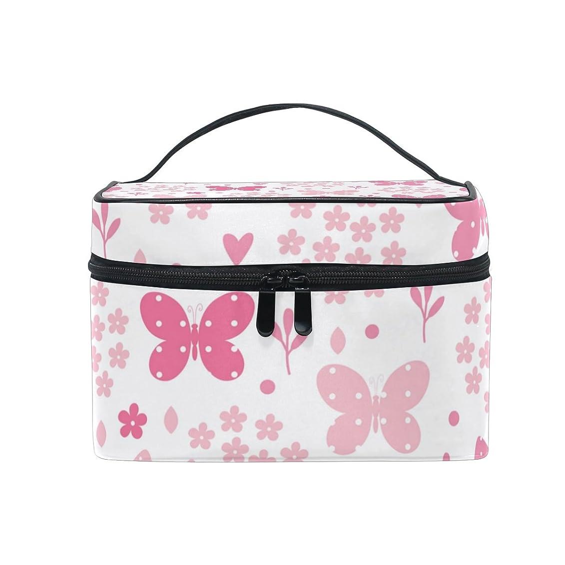 ヘリコプターヒューマニスティック行ALAZA 化粧ポーチ 花柄 はな柄 化粧 メイクボックス 収納用品 ピンク 大きめ かわいい