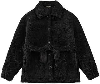 """""""N/A"""" Chaqueta de algodón con forro polar para mantener el calor, cordones gruesos, chaqueta de forro polar corta."""