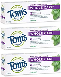 Tom's of Maine Whole Care Toothpaste, Toms Toothpaste, Natural Toothpaste, Spearmint, 4.0 Ounce, 3-Pack