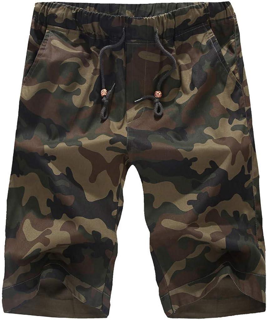 MODOQO Men's Cargo Shorts,Casual Camouflage Printed Zip Pocket Elastic Waistband Shorts