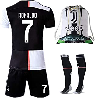 NTauthentic Juventus 7 Ronaldo Shirt Home Soccer Shirt for Kids/Youth with Socks & Shorts & Gym Bag 19-20 Season Black/White