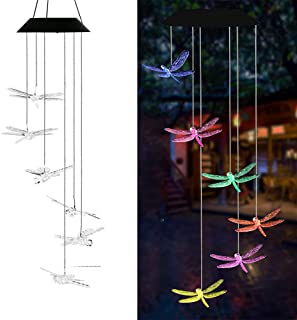 AVEKI Solar Wind Chimes Outdoor, Color-Changing Solar Mobile Wind Chime Waterproof Solar Powered LED Hanging Lamp for Outdoor Garden Festival Decoration (Dragonfly)