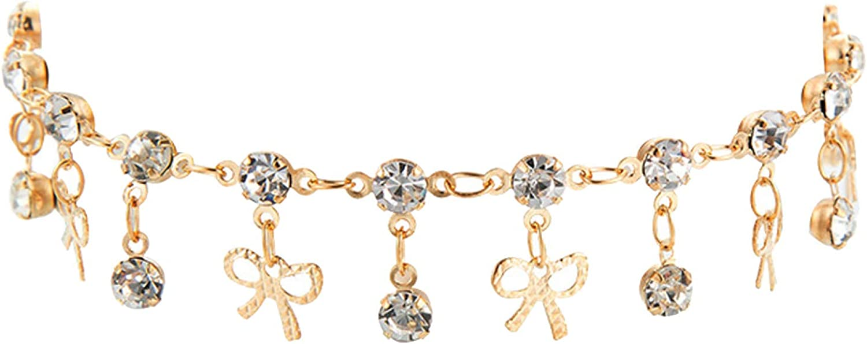 Anklet for Women,Bowknot Rhinestone Charm Tassel Chain Anklet Bracelet Summer Beach Women Jewelry