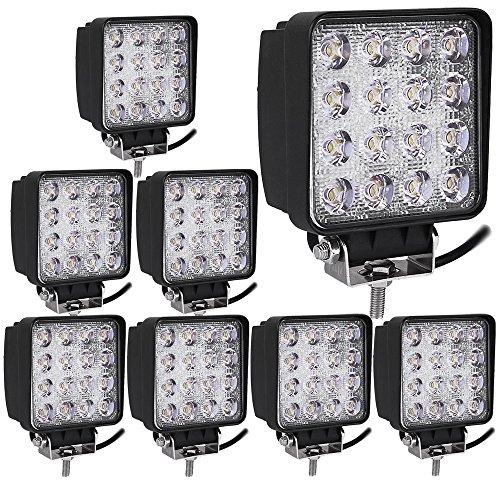 Leetop 8X 48W IP67 Offroad Réflecteur LED Projecteur Phare de Travail Intégrée SUV, ATV/UTV Offroad Phares de Travail 12-24V