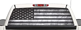 avgrafx Truck SUV Subdue Distressed American Flag Rear Window Graphic Decal Perforated Vinyl Wrap (22x66)