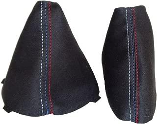 The Tuning-Shop Ltd for BMW E90 E91 E92 E93 2005-2013 Shift & E Brake Boot Black Genuine Suede M3 /// Stitching