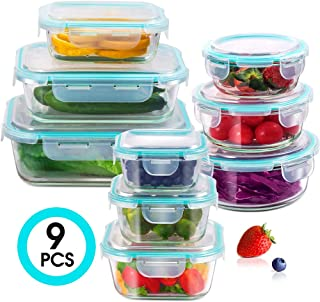 Glass Food Storage Containers 9pcs Meal Prep Lunch Containers Set with Locking Lids for Microwave Freezer and Dishwasher, 3 x Rectangles 3 x Circles 3 x Squares