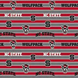 North Carolina State Fleece Blanket Fabric- NC State Wolfpack Fleece Fabric with Awesome Polo Stripe=Sold by The Yard