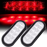 SCITOO 2Pcs Truck Trailer RV New Clear Lens Red LED Light Bulb 6' Led Oval Sealed Turn Signal Stop Tail Light