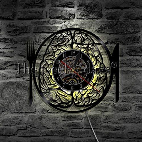 YINU 1 Pieza Dont Eat My Brain Tenedor Cuchillo Regalo Hecho a Mano Reloj de Vinilo Vintage Moderno LP Luz LED Sala de Estar Reloj de Pared Creativo