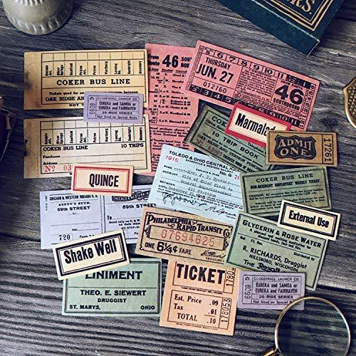 JIAQI Vintage Bus Ticket Label Tag Aufkleber DIY Craft Scrapbooking Album Junk Journal Planner Dekorative Aufkleber 19Stücke / Tasche