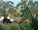 Feeling at home Lienzo-con-AMERICANO-BOX-Exótico-Paisaje-Rousseau-Henri-Animales-Fine-Art-print-on-madera-marco-Horizontal-28x35_in