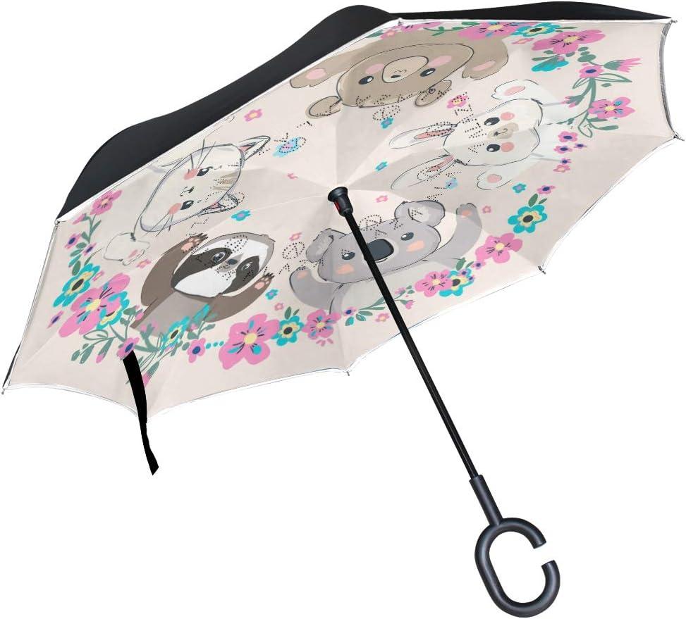 Pfrewn Cute Animals Ranking TOP13 Bear Cat Windproof Umbrella Columbus Mall Anti-UV Inverted