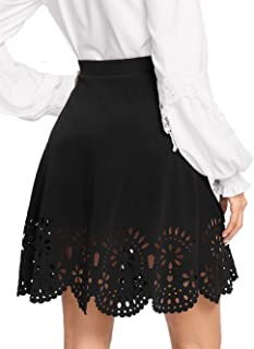 Women's Basic Solid Flared Mini Skater Skirt