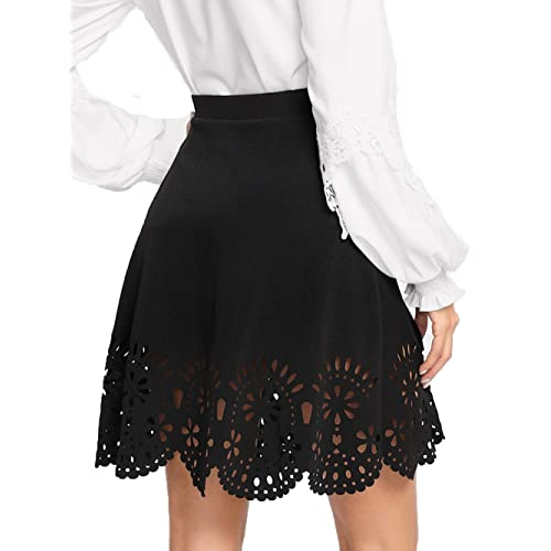 c8b4bfaec SheIn Women's Basic Solid Flared Mini Skater Skirt