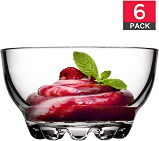 Glass Bowls Set for Kitchen Prep, Glass Bowls for Dessert, Snack, Cereal, Fruit, Nuts or Dip Bowls, Large 9.5 ounce Capacity, Set of 6, Premium Quality Clear Glass