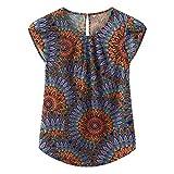 TASAMO Women Chiffon Blouse Round Neck Short Sleeve Top Shirts (Medium, Fp Peacock)