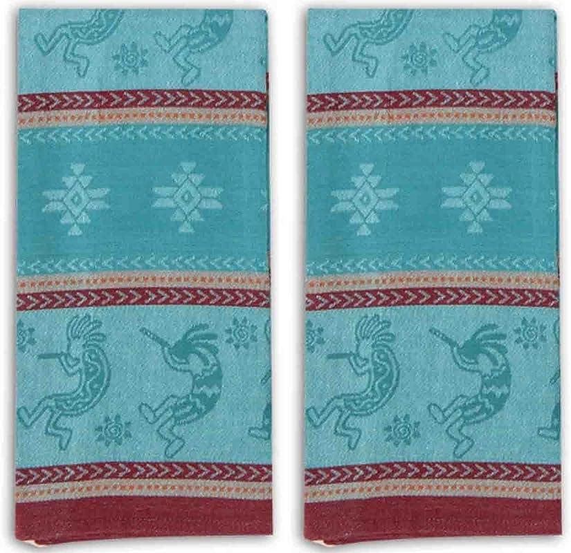 Kokopelli Embossed Jacquard Kitchen Tea Towels Set Of 2