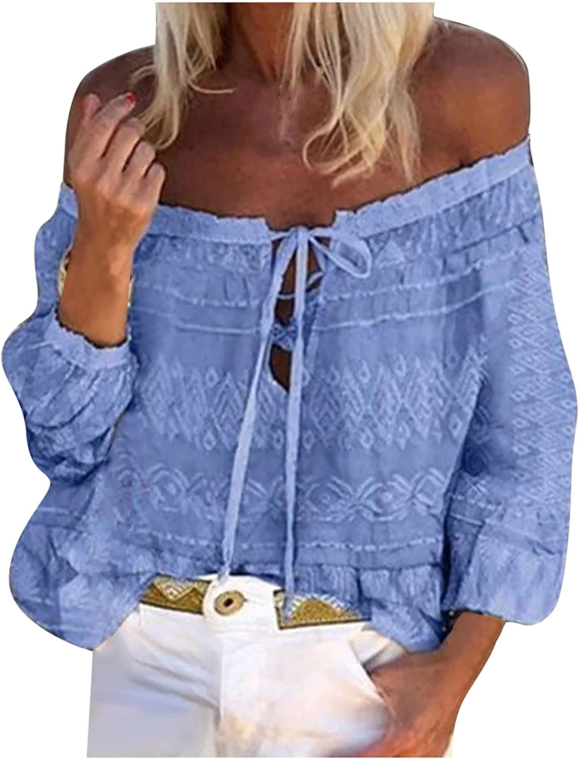 Blouses for Women Floral Print One-Line Neck Long Sleeve Ladies Fashion Autumn Loose Soft Pullover Tops