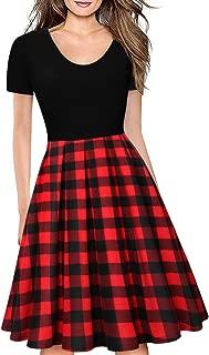 Women's Round Neck Dresses Short Sleeve Vintage Plaid Dress