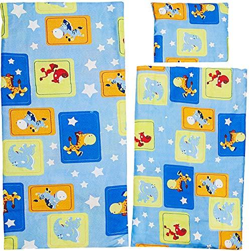 alles-meine.de GmbH 3 TLG. Set: große Puppendecke + Kissen + Unterlage - 100 % Baumwolle - Bunte Farben - 56 cm groß - Stoff - Bettwäsche - Puppenbettzeug / Puppenbettwäsche - Be..