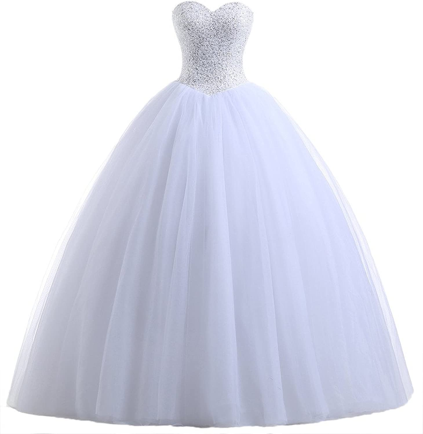 Vampal White Strapless SequinBodice Basque Waist Ball Gown Wedding Dress