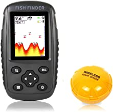 $76 » OVETOUR Portable Rechargeable Wireless Fish Finder Transducer Sonar Sensor Fishfinder Depth Locator with Fish Size, Water ...