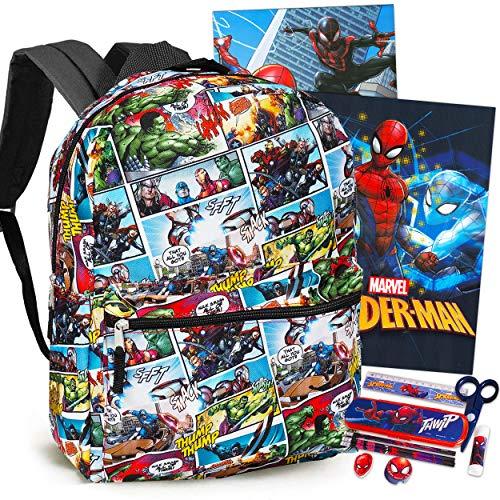 Marvel Avengers Backpack Set Boys Girls Kids - 7 Piece Marvel Avengers Superhero School Backpack Bag Set with Notebook, 2 Folders, Pencils, Stickers and More (Marvel Avengers School Supplies)
