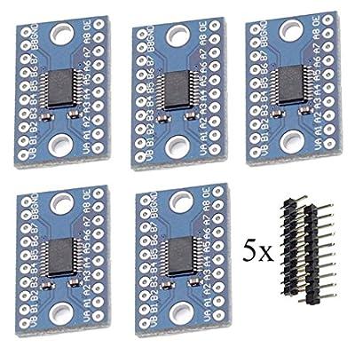 5pcs TXS0108E High Speed Full Duplex 8 Way 8 Channel Level Conversion Module 8-Bit 8 CH Logic Level Bi-Directional Converter Module