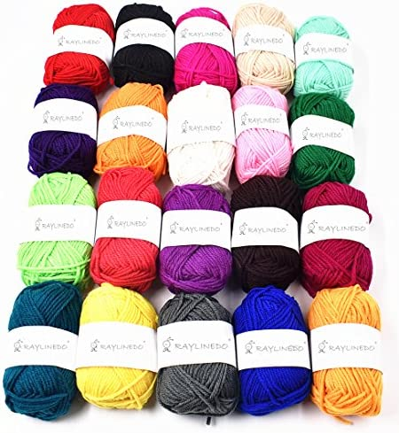 RayLineDo Pack 20 x 25g Ball Assorted Colors 100 Acrylic Knitting Yarn Crochet Crafts Total product image