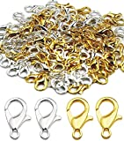 100 Pieces Stainless Steel Lobster Claw Clasps, Silver & Gold Bracelet Necklace Clasps Findings for DIY Jewelry Making(14x8mm)