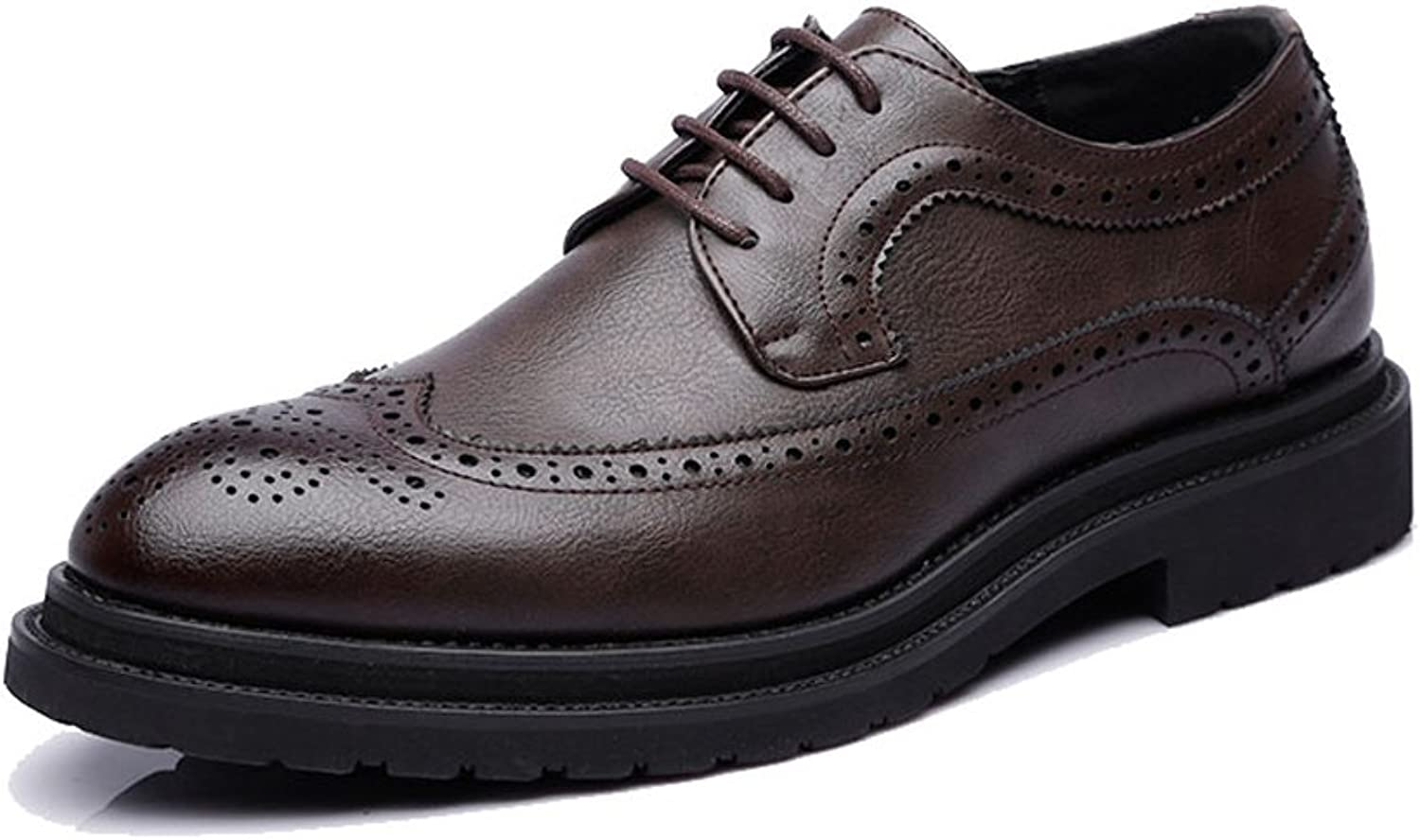 ZLQ Men's Business shoes PU Leather Upper Lace Up Wingtip Decoration Breathable Outsole Oxfords Breathable shoes