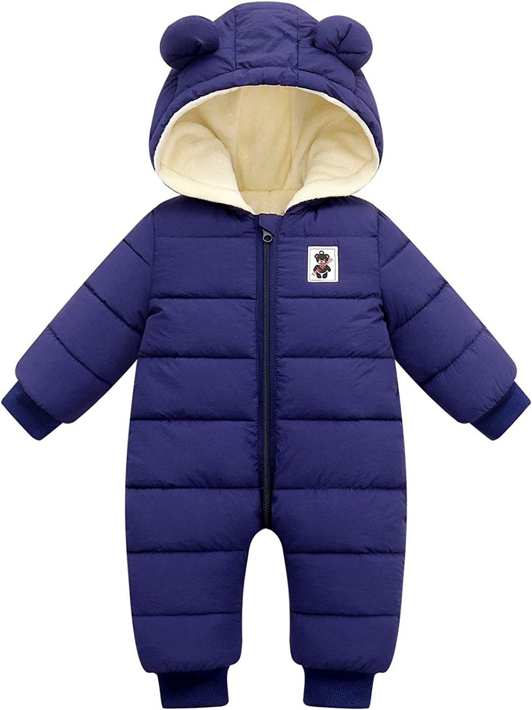 Happy Cherry Baby Hooded Snowsuit Infant Winter Clothes Zipper Long Sleeve Outerwear Cotton Warm One Piece Romper