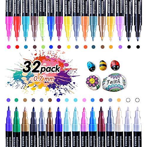 Set di pennarelli per pittura acrilica 32 colori 0.7mm pennarello indelebile a base d'acqua adatto per pietra metallo carta vetro legno plastica ceramica album fotografico fai da te