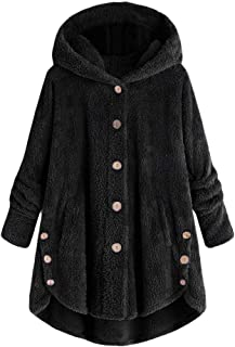 Hooded Faux Fur Coats for Women Long Teddy Bear Jacket Button Fluffy Pullover Loose Sweater