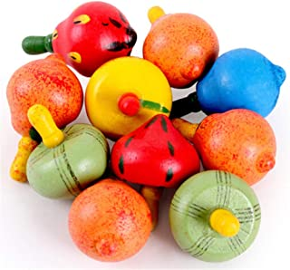 6 Pcs Wooden Colorful Fruit Shape Spinning Tops Toys Fruit Gyroscope Kids Gift, Color Random
