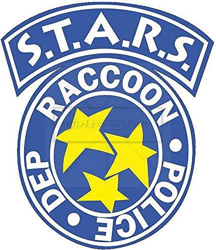 Sticker-Designs 10cm! Klebe-Folie Wetterfest Made-IN-Germany S.T.A.R.S. Resident Evil Raccoon Bike248 UV&Waschanlagenfest Auto-Aufkleber