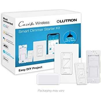 Lutron Caseta Smart Start Kit, Dimmer Switch with Smart Bridge and Wall Mount Pico Adapter, Works with Alexa, Apple HomeKit, and the Google Assistant | P-BDG-PKG1W-A | White