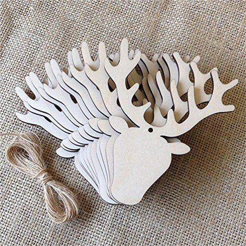 LALANG Rustic Wooden Bauble Hanging Decor Christmas Wedding Party Bunting Decoration (elk)