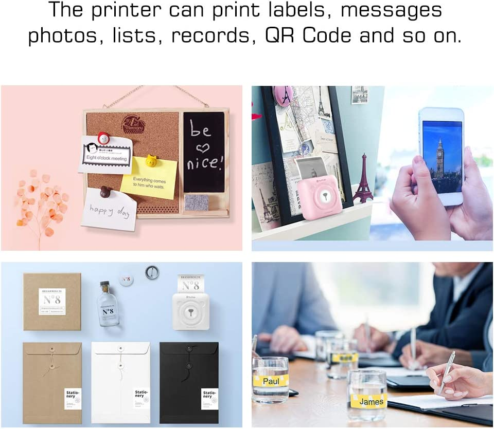 Aibecy Mini Pocket Wireless BT Thermal Printer Portable Photo Printer Label Memo Receipt Paper Printer 9 Rolls Color Thermal Paper 3 Rolls Adhesive Sticker Paper 57x30mm