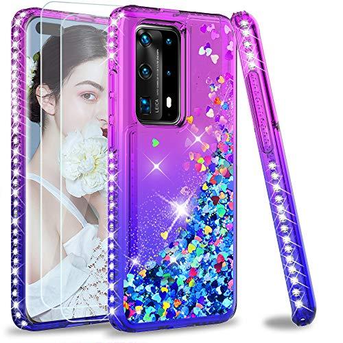 LeYi für Huawei P40 Pro Hülle Huawei P40 Pro+ Plus Glitzer Handyhülle mit 3D PET Schutzfolie(2 Stück), Diamond Cover Bumper Schutzhülle für Case Huawei P40 Pro Handy Hüllen ZX Lila Blau