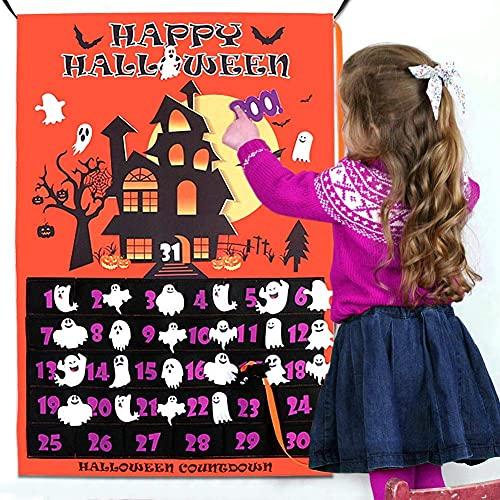 OurWarm calendario dell'Avvento di Halloween 2021 in lino Halloween conto alla rovescia (con 30 pipistrelli) per bambini 31 giorni, decorazione per la casa, calendario dell'Avvento, fantasmi Boo!