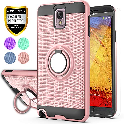 YmhxcY Note 3 Case,Galaxy Note 3 Case with HD Phone Screen Protector, 360 Degree Rotating Ring & Bracket Dual Layer Resistant Back Cover for Galaxy Note 3,Note III,N9000,N9005-ZH Rose Gold
