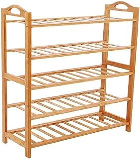 JJZXT Porte-Chaussures - 5 Tier Shoe Rack étagère, Stockage Cadre Bambou, Stand Usine, avec poignées, for Vestibule, Salle...