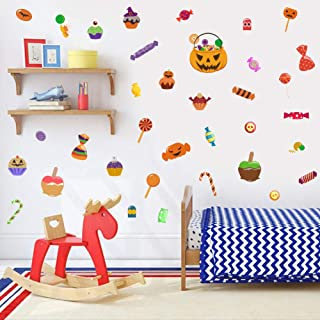 IARTTOP Halloween Party Supplies Wall Decal, Funny Pumpkin Candy Cupcake Wall Sticker for Kids Room Nursery Wall Art Decor, Lovely Colorful Window Clings Decoration