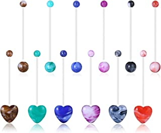 PiercingJ 12pcs Mixed Acrylic Pregnancy Belly Button Rings 14G UV Heart Ball Flexible Sport Maternity Long Pregnant Navel Rings Retainer 37mm Barbell Body Piercing Jewelry