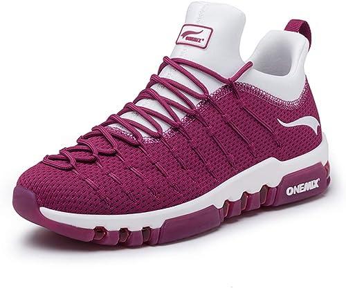 Hommes et Les Femmes de Coussin d'air Chaussures Casual, AntidéRapant RéSistant à l'usure des Amortisseurs Couple Chaussures de Sport, Chaussures de Promenade,Winoirugeblanc,42