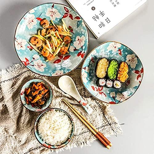 Platos Juego de vajilla, cuenco de arroz de mijo de cerámica pintado a mano de estilo japonés, palillos, cuenco de sopa, plato de refrigerio, plato de sopa, cuchara, juego de cubiertos para